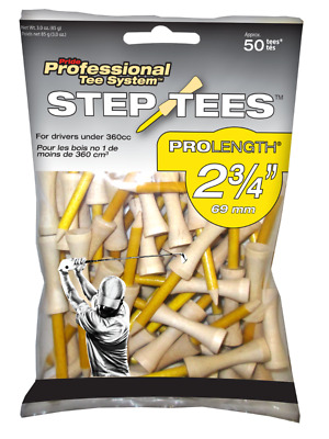 """Pride Step Down Professional Tee System 2 3/4"""" Two-Piece Step Golf Tees 50 Count"""