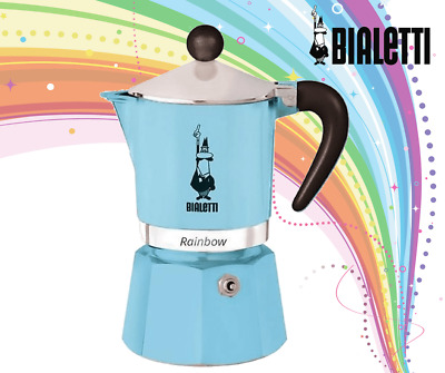 Bialetti 3 cup Moka Pot in Azzurro with FREE 150g coffee included