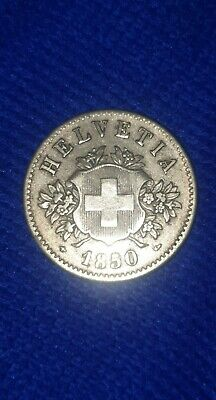 1850 Switzerland Helvetia 20 Rappen Swiss Coin Lovely Condition BB mint mark