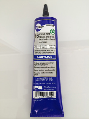 SCIGRIP Weld-On #16 Acrylic / Perspex / Plastic Clear Glue 146ml Tube USA Made