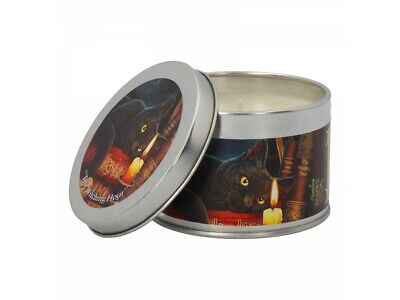 *THE WITCHING HOUR* Black Cat Art Tin Patchouli Candle By Lisa Parker (7.5cm)