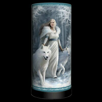 WINTER GUARDIANS White Wolf Maiden Lamp By Anne Stokes (Bulb Not Included) 27cm