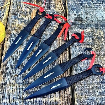 "6 Pc 6"" Ninja Tactical Combat Kunai Throwing Knife Set w/ Sheath Survival H"