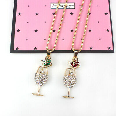 Charm Fashion Women Jewelry CUP CZ Crystal Sweater Chain Long Necklaces Pendants