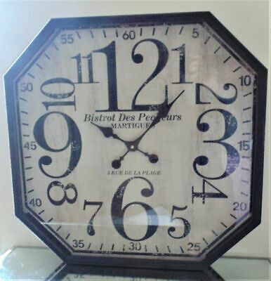 Shabby Vintage Chic Large Octagonal Metal Wall Clock
