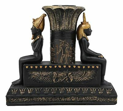 "Ebros Resin Ancient Egyptian Seated Isis And Osiris Candle Holder Figurine 5""L"