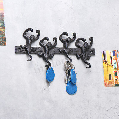 Monkey 4 Hooks Wall Rack Key Antique Cast Iron Hallway Kitchen Towel Holder 23CM
