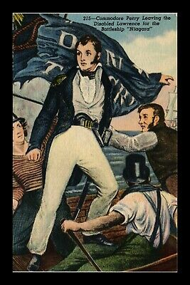 Dr Jim Stamps Us Commodore Perry Battle Of Lake Erie Linen Colortone Postcard