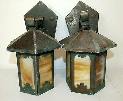 Pair Antique/Vintage COPPER ARTS & CRAFTS Outdoor Porch Wall Lights w/SLAG GLASS