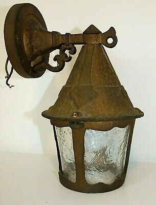 Antique/Vintage ARTS & CRAFTS Outdoor Wall PORCH LIGHT, Brass, Textured Glass