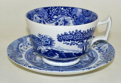 SPODE Italian - Blue & White  - Large Size Breakfast Cup & Saucer - Excellent