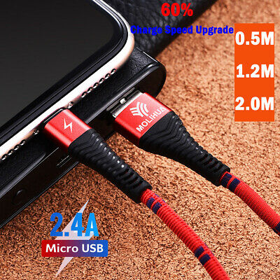 Heavyduty Braided Micro USB Charger Charging Lead Data Sync Phone Cable