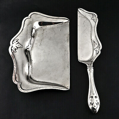 Rare Antique Shreve & Co. Sterling Silver, 14th Century, Food Crummer Set, NR!
