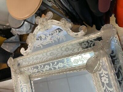 Italian 18th Century Venetian Palatial Mirror with Murano Crystal glass motifs