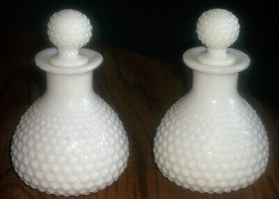 Pair Vintage Milk Glass Hobnail Perfume Bottles & Glass Stoppers