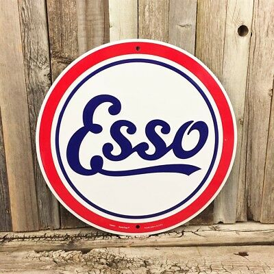 "Esso Gasoline Gas Oil 12"" Embossed Round Metal Tin Sign Vintage Garage New"