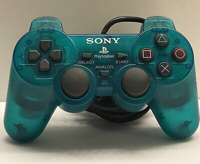 Official PlayStation 2 OEM.Sony DualShock Controller.Clear Teal Green.SCPH-10010