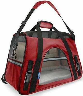 Pet Carrier Soft Sided Small Cat Dog Comfort Crimson Red Travel Bag FAA Approved