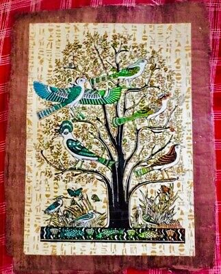 Papyrus Egyptian Acacia Tree of Life Large Size Souvenir Hand Paint US Free Ship