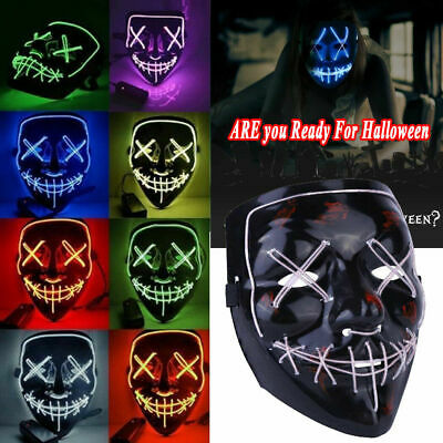 3 Modes LED Mask Cosplay Costume Light Up Scary Halloween Party Purge Wire Decor