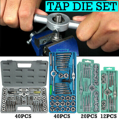 12 / 20 / 40 Pcs Metric Tap And Die Set Wrench Cuts M3-M12 Bolts + Hard Case