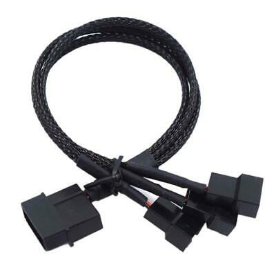 3 Pin Female Y-Splitter Dual Male Power Sleeved Cable Computer Case Fan BSCA