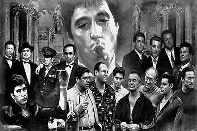 V652 Art Fabric Poster print Godfather-Goodfellas-Scarface movie room decor24x36