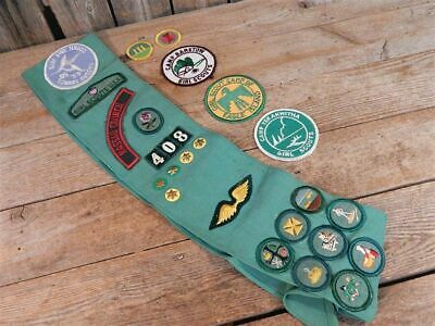 Vintage 1975 Girl Scout Patches Camp Cookies Pins Sash Lot Nassau County NY
