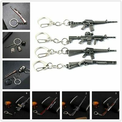 1PC PUBG Grounds Keychain Helmet Pan Gun Alloy Keyring Jewelry Game Fans Gift US
