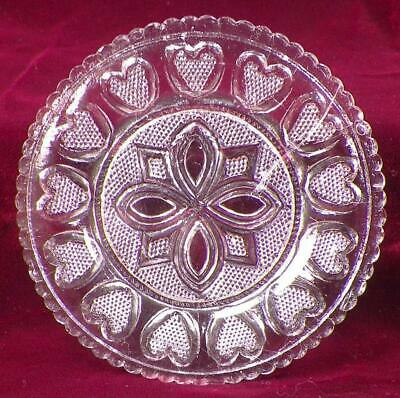 Antique Sandwich Glass Cup Plate 13 Hearts 465-N LR 63 Scallops Clear Stippled