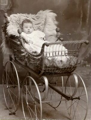 ANTIQUE CABINET PHOTO BABY iN BEAUTIFUL WICKER PRAM CARRIAGE w FUR DURAND WI