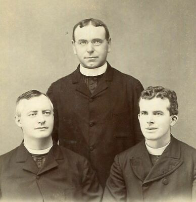 ANTIQUE CABINET PHOTO THREE HANDSOME VICTORIAN MEN PRIESTS ? LOWELL MA 1800s