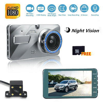 """New 4"""" Dash Cam FHD 1080P Front and Rear Car Dashboard Camera 170° DVR Recorder"""