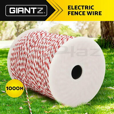 Giantz 1000M Electric Fence Wire Tape Poly Stainless Steel Temporary Fencing