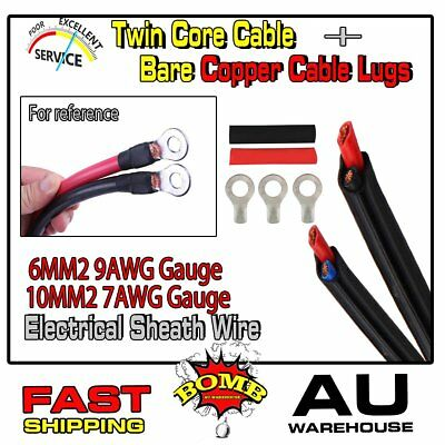 6MM 9AWG,10MM 7AWG Twin Core Cable Battery Welding Wires (Lugs + Heatshrink Kit)