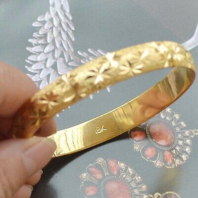 18k Yellow Gold Filled Unisex Openable Bangle Jewelry Bracelet 18K Stamped