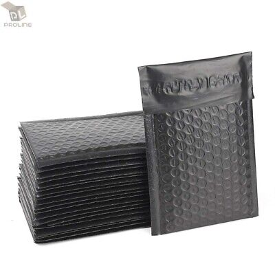 50 #000 4x8 Black Poly Bubble Padded Envelopes Self-Sealing Shipping Mailers