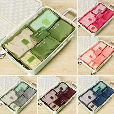 6PCS Waterproof Travel Storage Bags Clothes Packing Cube Luggage Organizer DTH
