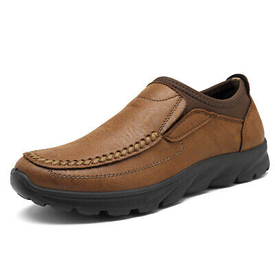 Men's Hand Stitching Leather Slip On Loafers Casual Breathable Antiskid Shoes