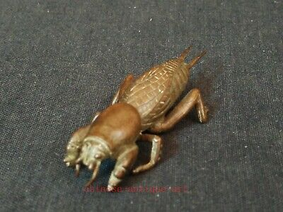 Collection Chinese Old Bronze Carving Lovely Cricket Statue Pendant Decoration