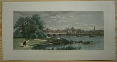 1872 Bryant print CONNECTICUT RIVER VALLEY: HARTFORD, FROM EAST SIDE OF RIVER