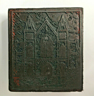 Old Vintage Metal Faced Printing Block Of A Church