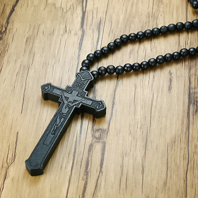 Large Black  Wood Catholic Jesus Cross With Wooden Bead Carved Rosary Pendent