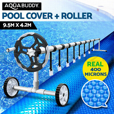 Aquabuddy Solar Swimming Pool Cover Blanket Roller Wheel Adjustable 9.5X4.2M