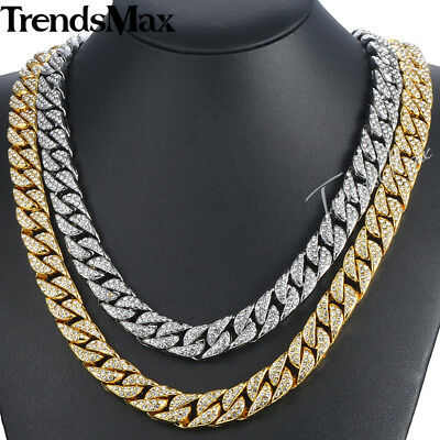 14mm Unisex Curb Cuban Link Necklace Chain Gold Filled Crystal Jewelry 24-36inch