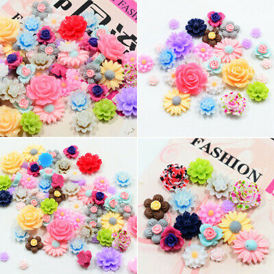50pcs Resin Beads Rose Flower Flat Back Embellishment Cabochons Craft DIY Decor