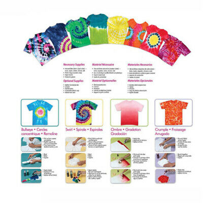 Tulip One Step Tie Dye Kit Vibrant Fabric Textile Permanent Paint 12 Colour DIY