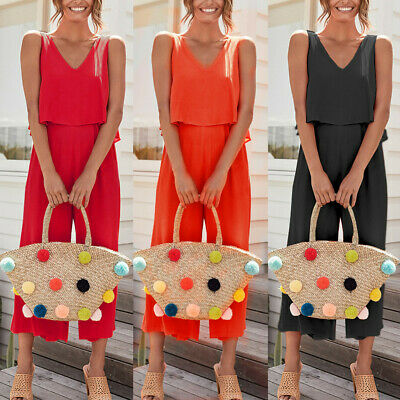 Women's Wide Leg Jumpsuit Sleeveless Casual Ladies Romper Office Overalls CA