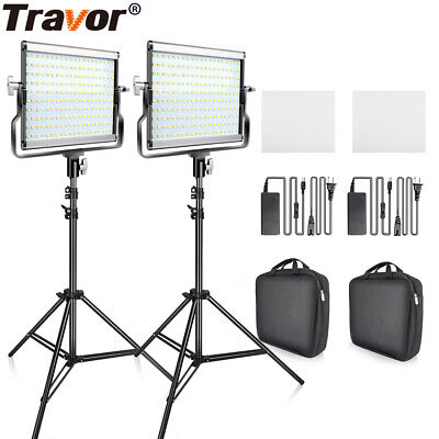 2 IN 1 Travor Dimmable Bi-Color LED Video Camera Light Studio Shoot + 2m Stands