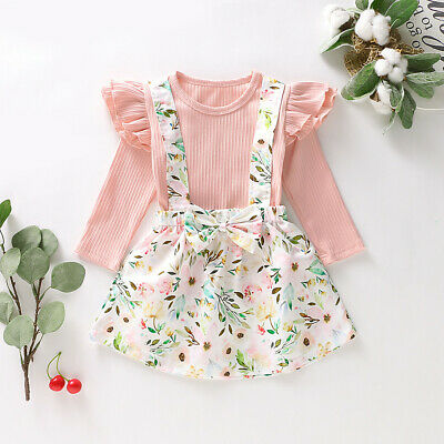 Toddler Baby Girls Long Sleeve Solid Tops+Floral Printed Suspender Skirt Clothes